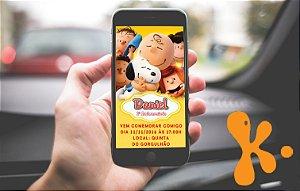 Convite personalizado para Whatsapp Snoopy e Charlie Brown