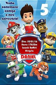 Convite digital personalizado Patrulha Canina 006
