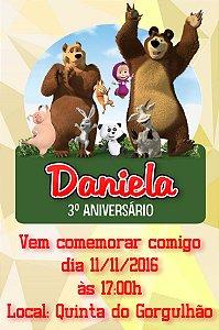 Convite digital personalizado Masha e o Urso 005
