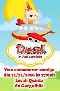 Convite digital personalizado Ursinho Aviador 001