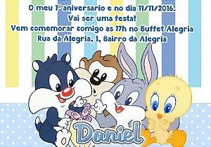 Convite digital personalizado Baby Looney Tunes  015