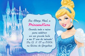 Convite digital personalizado Cinderela 020