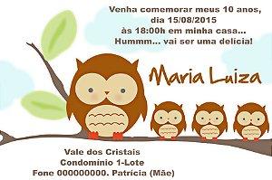 Convite digital personalizado Corujas 012