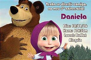 Convite digital personalizado Masha e o Urso 006