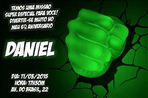 Convite digital personalizado O Incrível Hulk 008