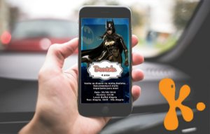 Convite personalizado para WhatsApp Batgirl ou Batmoça 001