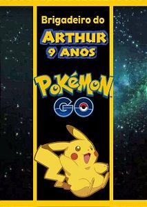 Adesivo personalizado para bisnaguinha de brigadeiro Pokémon GO