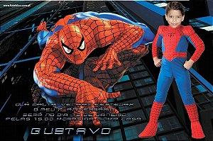 Convite com montagem do Homem Aranha
