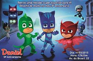 Convite digital personalizado PJ Masks – Heróis de Pijama 001