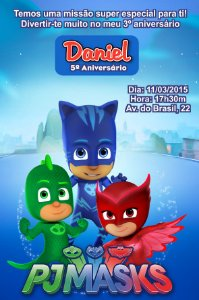 Convite digital personalizado PJ Masks – Heróis de Pijama 004