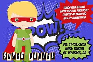 Convite digital personalizado Super Herois para meninos 022