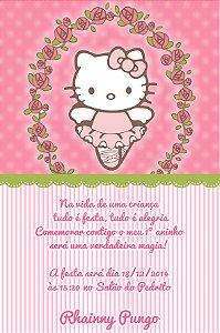 Convite digital personalizado Hello Kitty Bailarina 018
