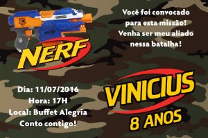 Convite digital personalizado Nerf 001