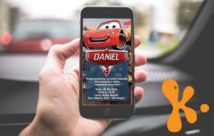 Convite personalizado para WhatsApp Carros da Disney
