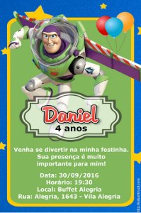 Convite digital personalizado Buzz Lightyear 009