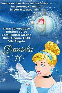 Convite digital personalizado Cinderela 022