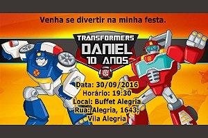 Convite digital personalizado Transformers Rescue Bots 001
