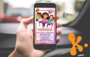 Convite personalizado para WhatsApp Dora e Seus Amigos na Cidade