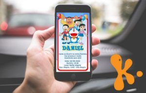 Convite personalizado para WhatsApp Doraemon
