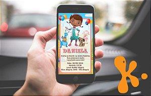 Convite personalizado para WhatsApp Doutora Brinquedos