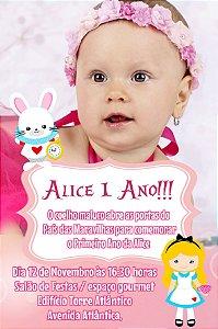 Convite digital personalizado Alice no país das maravilhas 018