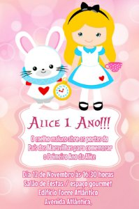 Convite digital personalizado Alice no país das maravilhas 019