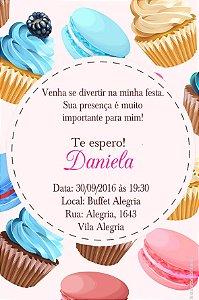 Convite digital personalizado Cupcakes 001