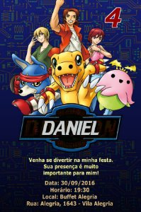 Convite digital personalizado Digimons 006