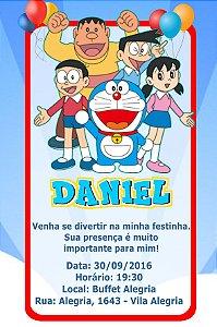 Convite digital personalizado Doraemon 005