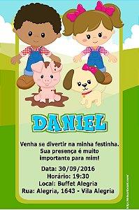 Convite digital personalizado Fazendinha 022