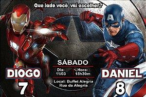 Convite digital personalizado Capitão América 3 Guerra Civil 005