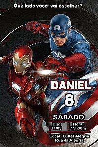 Convite digital personalizado Capitão América 3 Guerra Civil 006