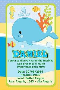 Convite digital personalizado Forever Fundo do Mar 013