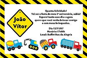 Convite digital personalizado Caminhões 001