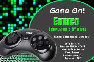 Convite digital personalizado Videogame 001