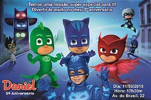 Convite digital personalizado PJ Masks – Heróis de Pijama 001 com montagem da roupa do tema