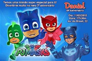 Convite digital personalizado PJ Masks – Heróis de Pijama 002 com montagem da roupa do tema