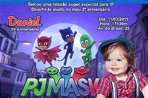 Convite digital personalizado PJ Masks – Heróis de Pijama 003 com foto