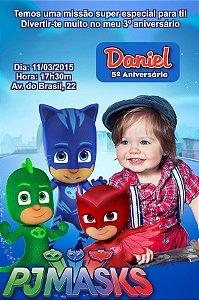 Convite digital personalizado PJ Masks – Heróis de Pijama 004 com foto