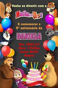 Convite digital personalizado Masha e o Urso 009