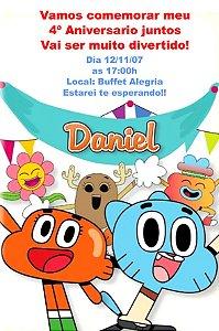 Convite digital personalizado O Incrível Mundo de Gumball 003
