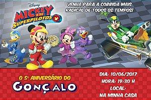 Convite digital personalizado Mickey Aventuras sobre Rodas 001