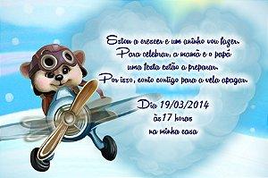 Convite digital personalizado Ursinho Aviador 003