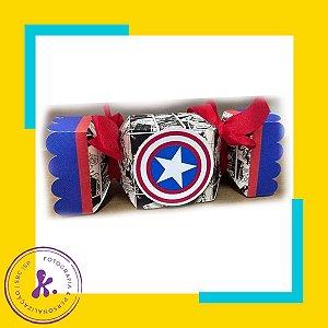 Caixa bala Capitão América com aplique 3D