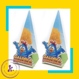Caixa Cone Galinha Pintadinha 2 com apliques 3D
