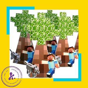 Caixa Cone Minecraft 2 com apliques 3D