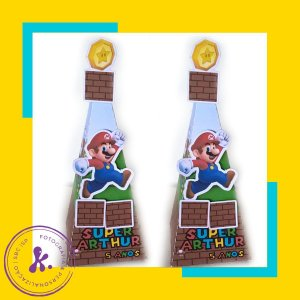 Caixa Cone Super Mario 1 com aplique 3D