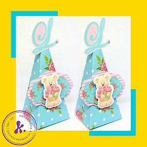 Caixa cone Caixa Ursa Floral com aplique 3D