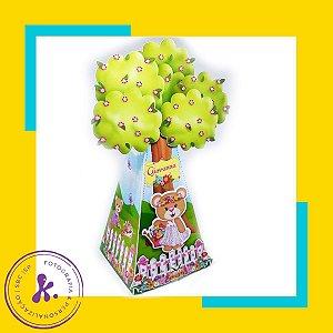 Caixa Cone Ursinha Jardim Encantado com aplique 3D