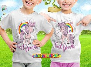 Camiseta Infantil Melhores Amigas Unicornio 007